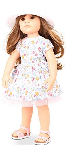 Götz 1659082 Hannah Summertime Puppe - Sommerzeit - 50 cm große Stehpuppe, braune Langen Haare, braune Augen - 7-teiliges Set
