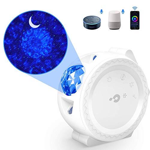 Sternenhimmel Projektor LED【WIFI Smart】Galaxy Projektor Lampe mit Timer/APP/Voice Kontrolle Bunt 3 in1 Starry Stern Mond Ozeanwellen Sternenhimmel Lampe für Kinder Party Weihnachten (Weiß)
