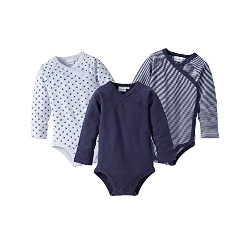 Bornino Wickelbodys Langarm (3er-Pack) - Langarmbodys mit Raglanärmeln & Druckknöpfen - Baumwoll-Bodys für Babys - 1x unifarben + 2X Gemustert