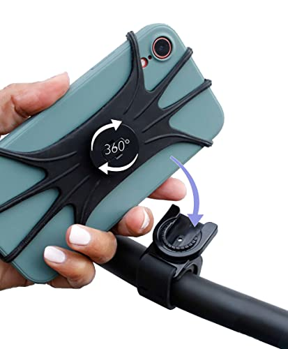Handyhalterung Fahrrad Handyhalterung abnehmbar 360° drehbar | 40 Gr. Schwarz Handy Halterung Fahrrad Silikon superleicht trotzdem sicher | Handy Fahrradhalterung für gängige Größen 4-6,7 Zoll