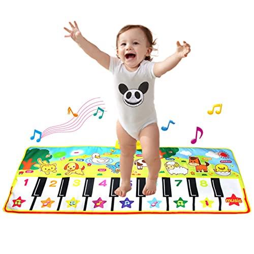 JLCP Tanzmatten Klaviermatte, Tiermusikmatte Elektronische Tanzmatten Multifunktionale Tastatur Und Aktivitätsmatte Lernspielzeug Geschenke Für Kinder Im Alter Von 3-5 Jahren,58X135cm