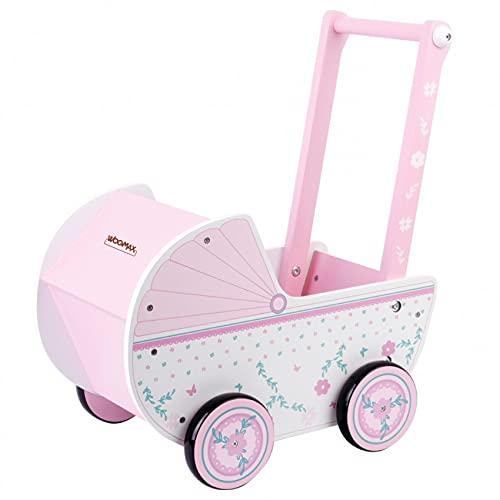 COLORBABY WOOMAX 46475 Puppenwagen aus Holz, 26,5 x 39 x 46 cm, Rosa und Weiß, mit Rollen, für 30-40 Puppen und Spielzeug für 3 Jahre, bunt