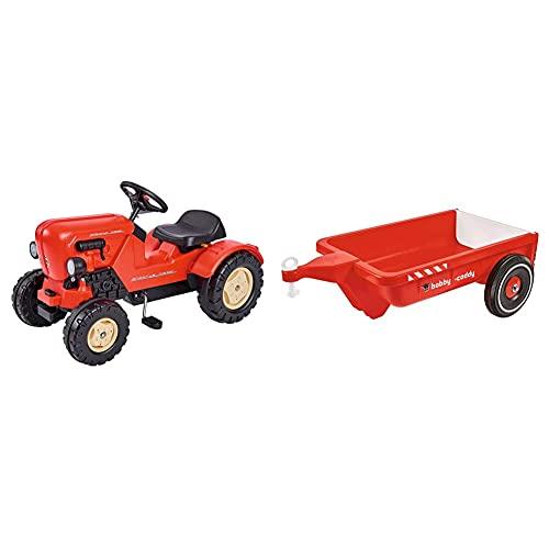 BIG Spielwarenfabrik 800056560 Big - Porsche Diesel Junior - Kindertrettraktoren, ab 3 Jahren & 800056292 Big-Bobby-Caddy - Bobby-Car Anhänger für drinnen und draußen, für Kinder ab 1 Jahr
