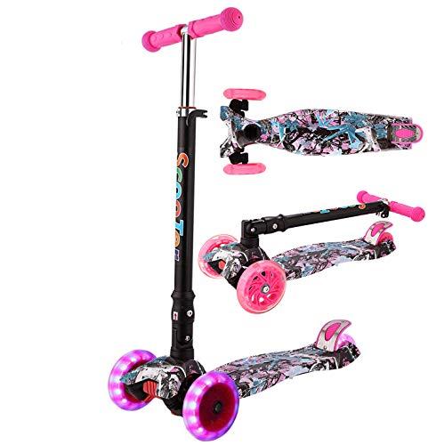 Oppikle 3 Räder Kinder Roller Scooter - Höhenverstellbarer Kinderroller Mit LED Leuchträdern Rollen Und Verstellbare Lenker Für Kleinkinder - Mädchen Oder Jungen Ab 3 Jahren (Violett Graffiti)