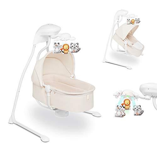 LIONELO Henny 3in1 Baby Wippe Babyschaukel und Babyliegestuhl Babywippe Elektrisch mit Liegefunktion 10 Melodien Karussell USB-Anschluss Moskitonetz (Weiß)