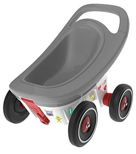 BIG - Buggy - 3-in-1 Multifunktions-Anhänger, Lauflernwagen mit verstellbarer Bremsfunktion, inklusive 4 Flüsterräder, Bobby Car Anhänger, für Kinder ab 1 Jahr
