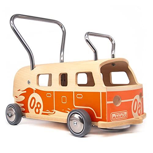 3 in 1 LAUFLERNWAGEN UND RUTSCHFAHRZEUG MAAMUU Balòss 8 Orange HOLZ und EDELSTAHL Made in Italy