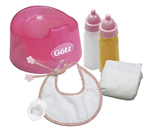 Götz 3401935 Babypuppen Basic Care Set - 8-teilige Grundausstattung als Zubehör-Set für Puppen der Größen S (30 - 33 cm) und M (42 - 46 cm)