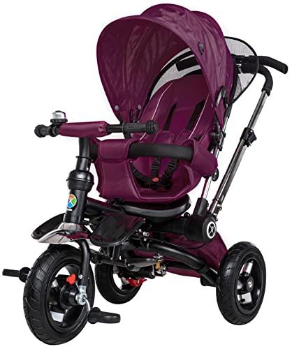 Miweba Kinderdreirad Schieber 7 in 1 Kinderwagen - Freilauf - Faltbar - Luftreifen - Heckfederung - Laufrad - Dreirad - Schubstange - Ab 1 Jahr (Lila)
