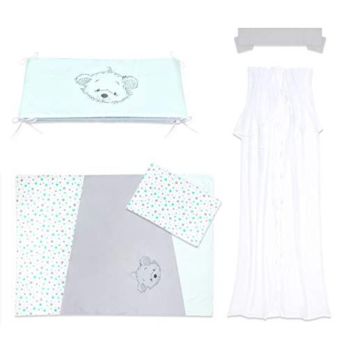 Amilian® Baby Bettwäsche 5tlg Bettset mit Nestchen Kinderbettwäsche Chiffonhimmel 100x135cm MIT STICKEREI (Sternchen KLEIN Türkis/Hellgrau/Bär)