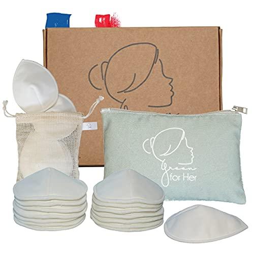 14 Stück waschbare und wiederverwendbare Stilleinlagen aus hygienischer Bio-Bambusfaser + Waschbeutel + eine schöne Aufbewahrungstasche für Feuchttücher.