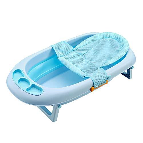 BEAUTYBIGBANG Baby-Badewannenstütze für Neugeborene, Duschnetz für Badewanne, verstellbar, bequem, rutschfest, für Babys von 0-3 Jahren (Blau)