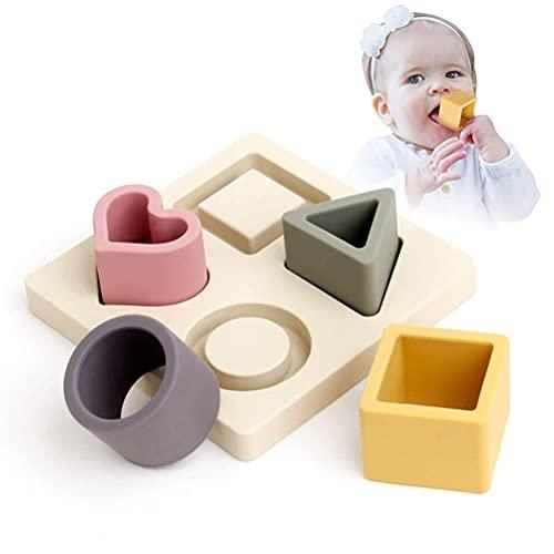 Prevessel Baby-Zahnspielzeug – Sortieren Stapelbare Bausteine Silikon Zahnspielzeug Silikon Beißring Früherziehung Spielzeug für Kleinkinder ab 3 Monaten (Beige)