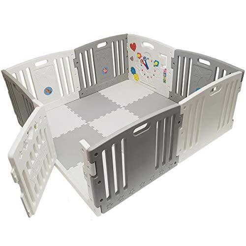 Venture All Star Duo Laufstall grau mit Spielmatten und Spielbällen