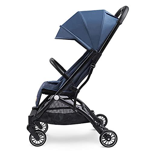 Leichter Kinderwagen Kombikinderwagen ab Geburt bis 15 kg, Reisebuggy mit Fünf Punkt Gurt, mit Rückenlehnenverstellung, einhändig faltbarer Kinderwagen für 0-3 Jahre (Schwarz)