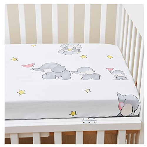 Baby Spannbettlaken - Matratzenschoner für Kinderbetten - 100% Bio-Baumwolle, Schadstofffrei - für Beistellbett, Wiege und Stubenwagen (Elefant,Matratze: 120x60cm)