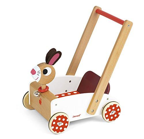 """Janod ZXR-066 J05997 """"Crazy Rabbit"""" Lauflernhilfe aus Holz für Kinder, für Kinder ab 1 Jahr, weiß und rot"""