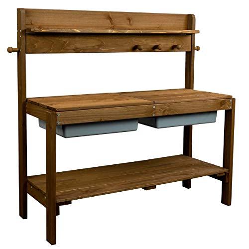 x x Roba Matschküche aus wetterfestem Holz - Pflanztisch für Kinder - Basteltisch für drinnen und draußen