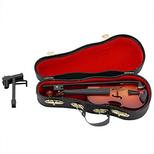 Mini Violine Holz Musikinstrument Modell Puppenhaus Dekor Zubehör mit Bogen Stand Support und Geigenkasten für Kinder