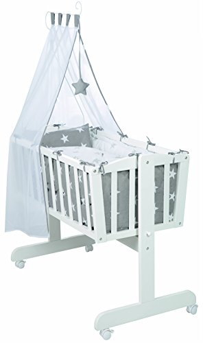 roba Komplettwiegenset, Babywiege 'Little Stars' (40x90cm), Holz weiß, Stubenwagen & Wiege mit Feststellfunktion, Wiegenset inkl. kompletter Ausstattung & Baby Bettwäsche (80x80cm)