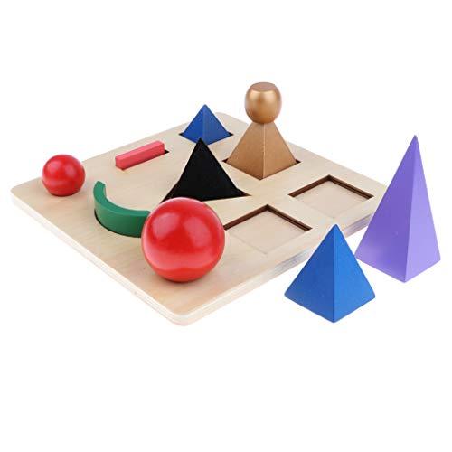 KESOTO Holz Steckspielzeug Formensortierspiel Lernspielzeug mit 9 Verschiedene Symbolen
