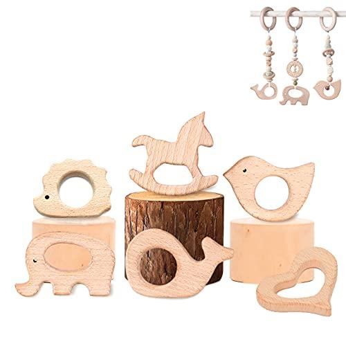 Baby Beißring Holz, Baby Wooden Teether, 6 Stück Beissring Greifling Zahnen Ring, Baby Zubehör Zahnenringe, Kinder Naturholz Spielzeug Geschenk, DIY Kleinkind Beißring Hölzern Zahnen Krankenpflege