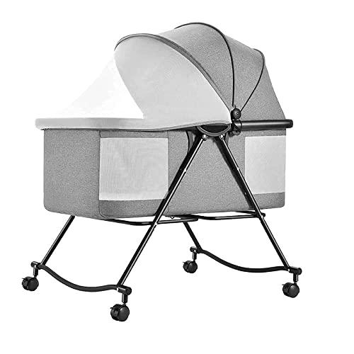 FGDSA 3 In 1 Babybett Wiege Reisebett, Kinderbett Bett Verstellbar, Mit Zubehör Matratzenbezug, Transporttasche, Für Neugeborene, Grau