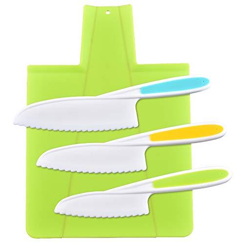 feihao Kinder Kochmesser und Schneidebrett Set,Kindermesser,Kuchenmesser & Tortenmesser, 3 Größen Kunststoffgriff Küchenmesser, Ideal zum Schneiden von Brot und Salat