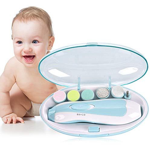 Baby Nagelfeile Elektrisch,Nagelfräser Elektrisch, Elektrische Baby Nagelfeile set,Baby Elektrische Nagel Pflege LED Sicher Multifunktionale 360 Grad Rotation Stille Für Baby und Erwachsener