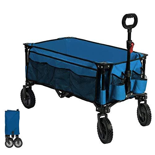 Timber Ridge Bollerwagen faltbar Handwagen Faltwagen Transportwagen Strandwagen Gartenwagen für alle Gelände mit Seitentasche Getränkehalter blau