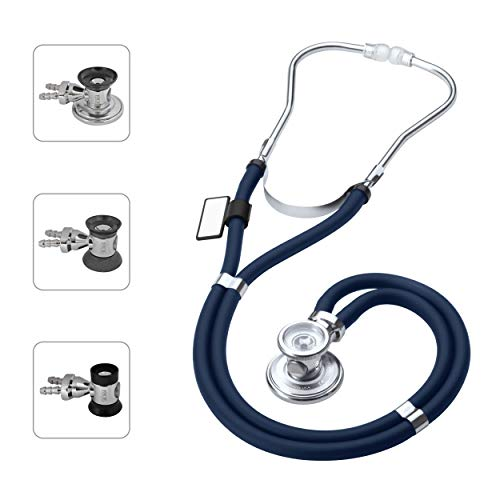 MDF® Sprague Rappaport Zweikopf-Stethoskop mit austauschbarem Bruststück für Erwachsene, Kinderärzte und Säuglinge - Gratis-Parts-for-Life & Lebenslange-Garantie - Marineblau (MDF767-04)