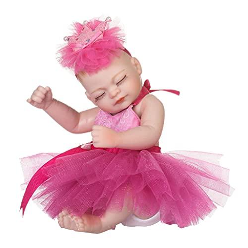 Hellery 10 '' Schönes Silikon Reborn Schlafende Mädchen Puppe, Das Echte Modell