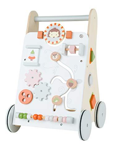 Bieco Lauflernwagen Holz   ab 1 Jahr   Multifunktionale Baby Lauflernhilfe   Laufwagen für Babys zur Förderung der Motorik   Baby Gehhilfe mit Gummibereifung   Activity Lauflernhilfe für Babys