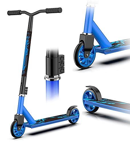 Homeatk Stunt Scooter, Pro Extremsport Tretroller mit ABEC-7 Hohe Geschwindigkeit Kugellager, Robuster Legierung Core 100mm PU Räder, Fun Stuntscooter für Kinder Erwachsene Stunt Roller