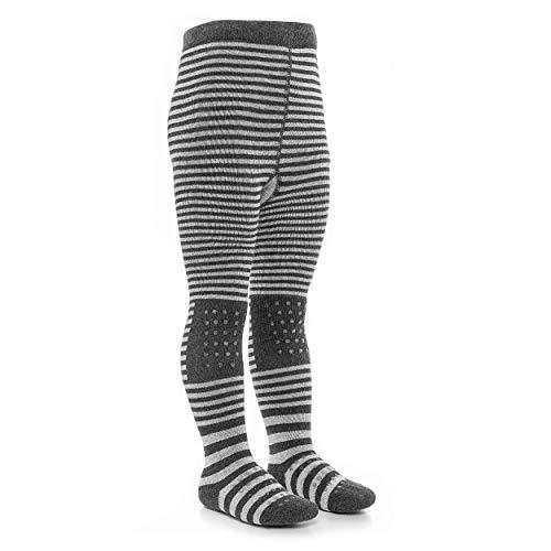 LaLoona Baby Krabbelstrumpfhose mit ABS Sohle - elastische Kinder Strumpfhose mit Anti Rutsch Noppen - Streifen Grau - 74/80
