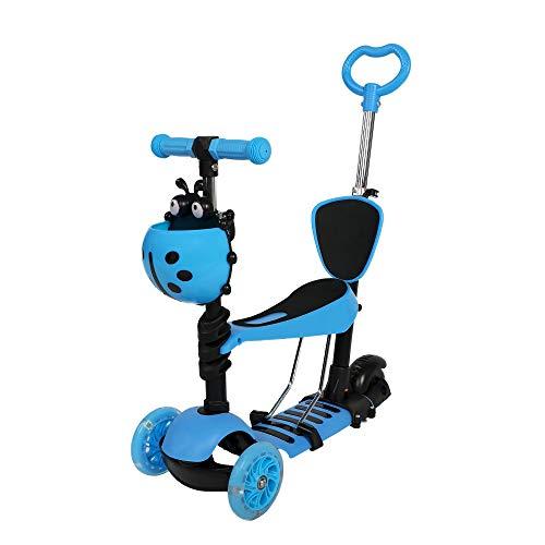 COSMOLINO 5 in 1 Kinder Roller, Kinderscooter, Scooter, Kick-Roller mit verstellbarem abnehmbarem Sitz und Schiebegriff, Blinkenden LED-Leuchträdern für Kids ab 2 Jahre (Blau)