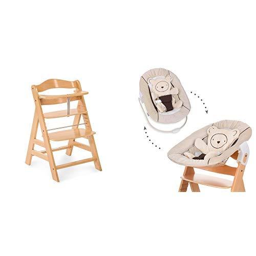 Hauck Newborn Set (2 Teilig): Alpha Hochstuhl ab 6 Monaten, mitwachsend, höhenverstellbar, bis 90 kg belastbar, natur + Babwippe(Motiv: Teddy) in beige
