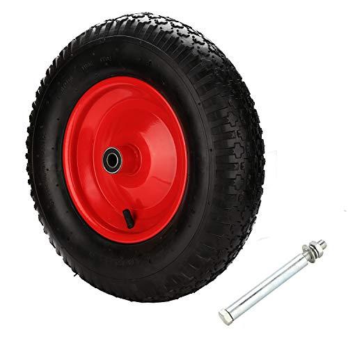 Sprinup Schubkarrenrad 4.80 4.00-8 luftbereift schwarz-rot, Komplettrad 120 kg Traglast, Luftreifen m. Ventil, Ø 390 95mm Ersatzrad