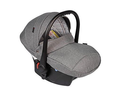 Clamaro Babyschale Auto 'JUNO black' ultraleicht 2,95 kg mit Anti-Shock Schaumstoff, Gruppe 0+ (0-13 kg) ECE-R 44/04 - Baby Autositz inkl. Sonnenverdeck und Fußabdeckung - Dunkelgrau Leinen