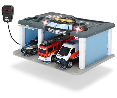 Dickie Toys SOS Rettungsstation mit Polizei, Feuerwehr und Krankenwagen, Station mit Licht & Sound, Mikrofon mit Lautsprecherfunktion, Tore zum Öffnen, inkl. Batterien, 31x22x16 cm