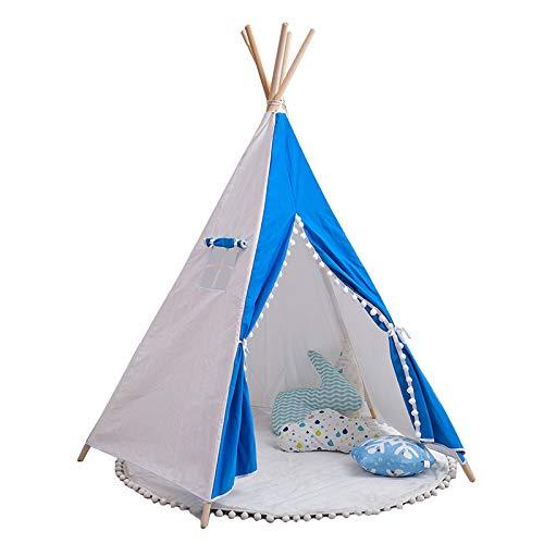 HBCELY Kinder-Tipi-Zelt Baumwoll-Leinwand-Kinderzelte für Mädchen und Jungen, faltbares Spielhaus für Indoor- oder Outdoor-Spiele, Leseecke-Fotografie-Requisiten