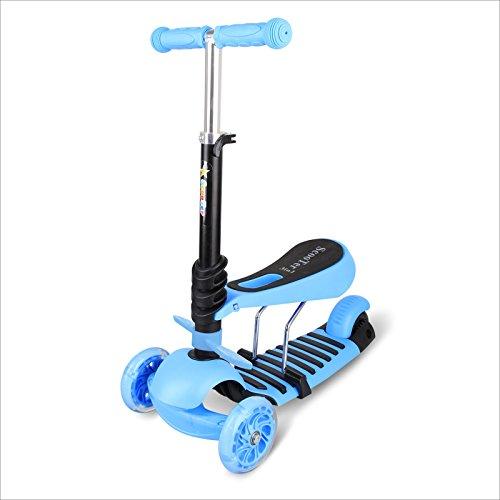 3 in 1 Mini Mitwachsender Dreirad Kinderroller Laufrad zum Laufenlernen LED Räder Scooter aus Aluminiumlegierung für Kinder von 2-5 Jahren in DREI Höhen Verstellbar (blau)