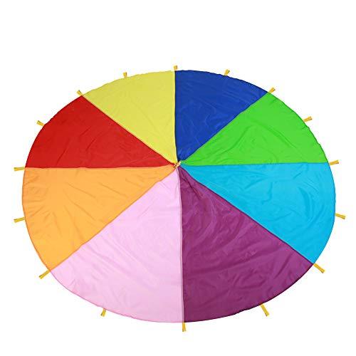 3m Fallschirm Schwungtuch, Schwungtuch für Kinder und Familie,Bunt Fallschirm Parachutes Spielzeug für Partys Sportliche Aktivitäten Gruppe Outdoor Übung