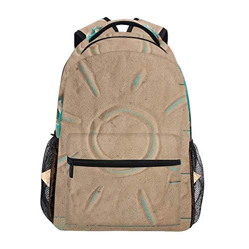 WowPrint Sand Muschel Blau Hölzern Druck Rucksack Büchertasche Schulrucksäcke Rucksack Wandern Daypack für Mädchen Kinder Jungen Damen Herren Unisex