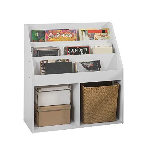 SoBuy KMB01-W Kinderregal mit 3 Ablagefächern und 2 offenen Fächern Zeitungsständer Aufbewahrungsregal Bücherregal für Kinder weiß BHT ca.: 73x80x30cm