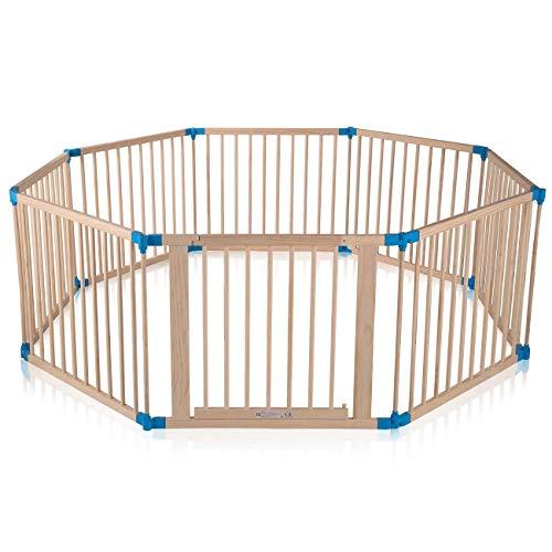 Baby Vivo XXL Laufgitter Laufstall Baby Absperrgitter Krabbelgitter Schutzgitter für Kinder aus Holz mit Tür - individuell verstellbar - 8 Elemente PREMIUM