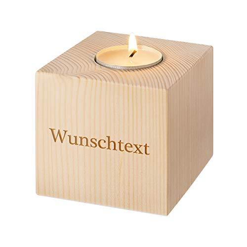 Holz-Teelichthalter personalisiert - Quadrat - Personalisiert mit Gravur - Tolle Tischdekoration – Geschenkidee für jung und alt – Windlicht der besonderen Art - Motiv Wunschtext