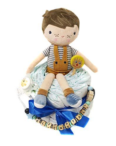 Elfenstall Windeltorte Pamperstorte mit Schnullerkette/Schnuller und vielen Extras als tolles Geschenk zur Geburt oder Taufe auf Wunsch mit Namen des Babys mit Kuschelpuppe Jim blau