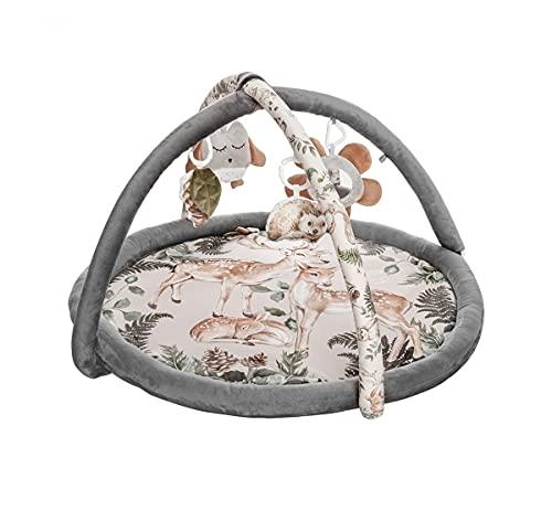 Baby Steps Spielbogen Spieldecke Krabbeldecke - Erlebnisdecke mit 4 Sensorische Spielzeug - 90x60 cm - Spiel & Spaß Teppich Kinder Mat von Geburt An, Made in EU (Animals Garden)