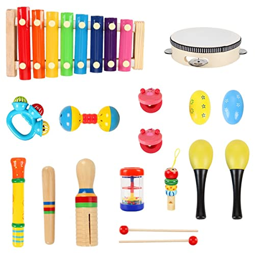 HassoKon Baby Musikinstrumente, 20 Stück Schlagzeug Kinder Holz Percussion Set Musik Kinderspielzeug, Musikalische Früherziehung Musical Instruments für Kleinkinder und Baby